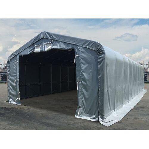 Dancover Lagerzelt Zeltgarage Garagenzelt PRO 7x14x3,8m PVC mit Dachfenster, Grau