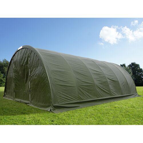 Dancover Rundbogenhalle Lagerzelt 9,15x12x4,5m, PE mit Dachfenster, grün