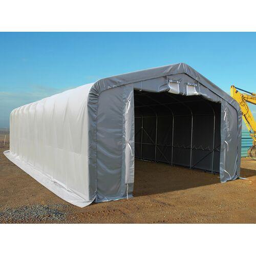 Dancover Lagerzelt Zeltgarage Garagenzelt PRO 6x12x3,7m PVC mit Dachfenster, Grau