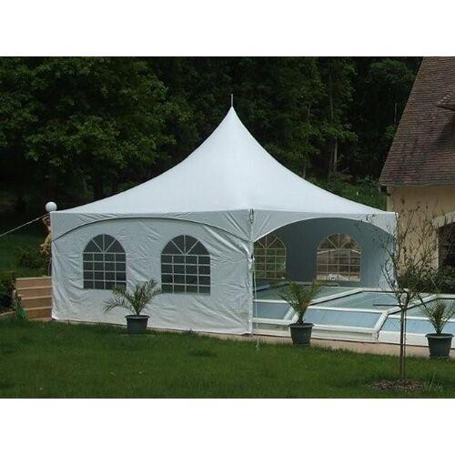 Dancover Pagoden-Partyzelt Festzelt PartyZone 5x5m, PVC, weiß