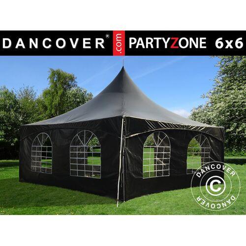 Dancover Pagoden-Partyzelt Festzelt PartyZone 6x6m, PVC, schwarz
