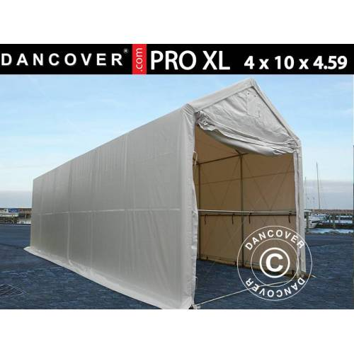 Dancover Lagerzelt PRO XL Bootszelt Zeltgarage Garagenzelt PRO XL 4x10x3,5x4,59m, PVC, We