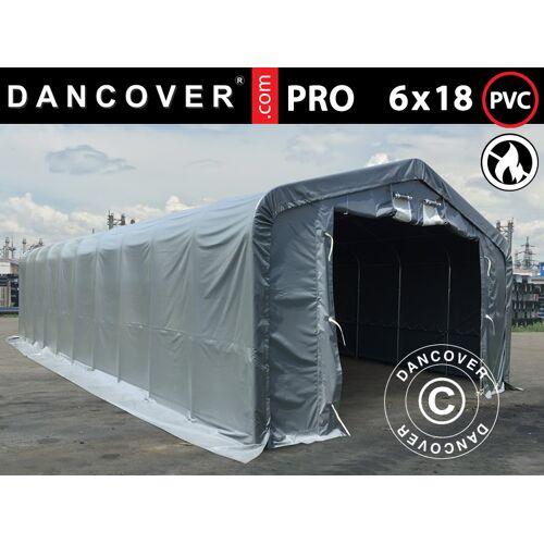 Dancover Lagerzelt Zeltgarage Garagenzelt PRO 6x18x3,7m PVC mit Dachfenster, Grau