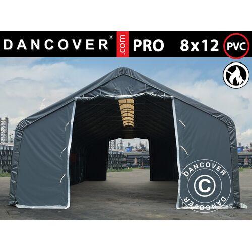 Dancover Lagerzelt Zeltgarage Garagenzelt PRO 8x12x5,2m PVC mit Dachfenster, Grau