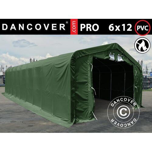 Dancover Lagerzelt Zeltgarage Garagenzelt PRO 6x12x3,7m  PVC mit Dachfenster, Grün