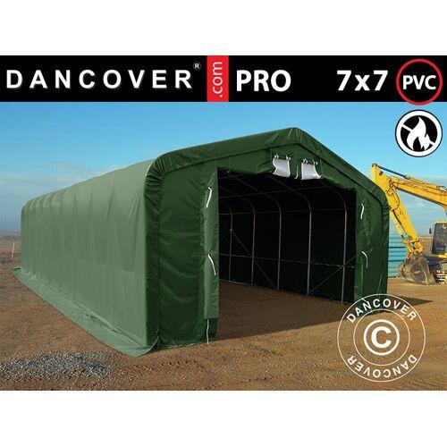 Dancover Lagerzelt Zeltgarage Garagenzelt PRO 7x7x3,8m PVC mit Dachfenster, Grün