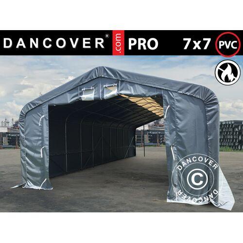 Dancover Lagerzelt Zeltgarage Garagenzelt PRO 7x7x3,8m PVC mit Dachfenster, Grau