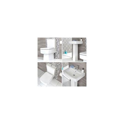 Hudson Reed Säulenwaschbecken und WC mit aufgesetztem Spülkasten - Exton