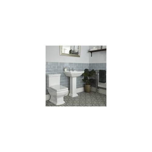 Hudson Reed Nostalgie Set, Stand WC mit aufgesetztem Spülkasten & Säulenwaschbecken Keramik - Chester