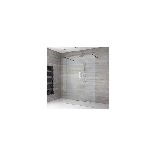 Hudson Reed Ebenerdige freistehende Dusche, Größe von Glaswand und Rinne wählbar - Nox