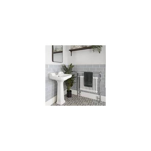 Hudson Reed Richmond 1-Loch Retro Säulenwaschbecken 56 cm breit mit Pedestal, nostalgische Badaustattung