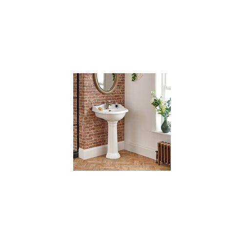 Hudson Reed Ryther Standwaschbecken mit Spritzschutz & Säule 1-Loch Keramik Weiß
