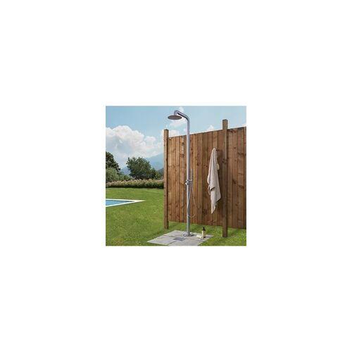 Hudson Reed Gartendusche mit Handdusche und Regenduschkopf gebürsteter Stahl