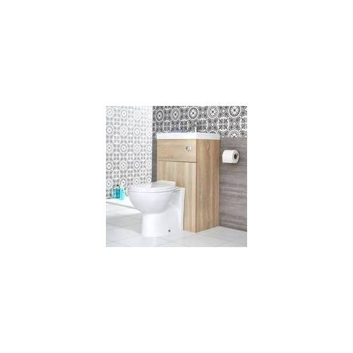 Hudson Reed ovale Toilette mit Spülkasten und integriertem Waschbecken Eiche