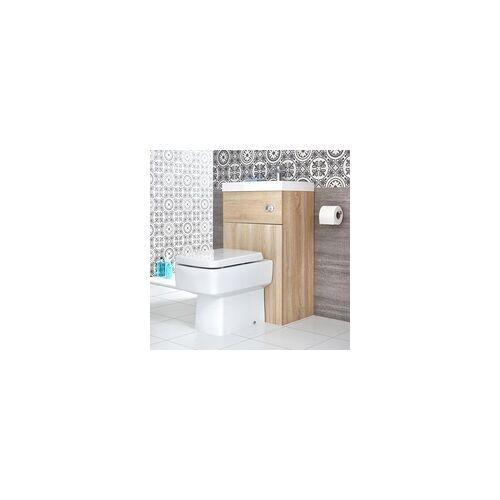 Hudson Reed eckige Toilette mit Spülkasten und integriertem Waschbecken Eiche