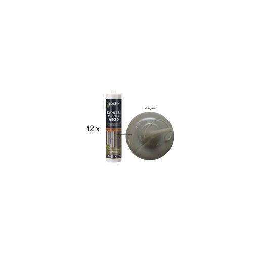Bostik 12 x Bostik Expressmörtel steingrau 1K Acryl Fugenreparaturmasse 300ml Kartusche