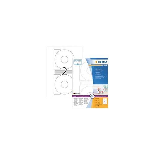 HERMA CD-Etiketten 4471 Weiß DIN A4 Ø 116 mm 100 Blatt à 2 Etiketten
