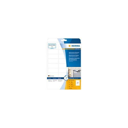 HERMA Drucketiketten 4864 Weiß DIN A4 63,5 x 29,6 mm 10 Blatt à 27 Etiketten