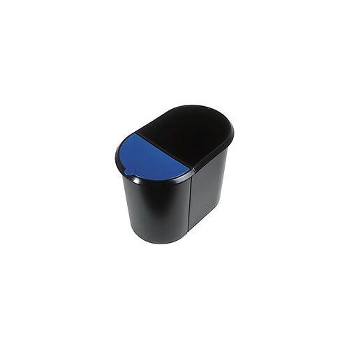helit Papierkorb Schwarz, Blau 28 x 44,5 x 35 cm
