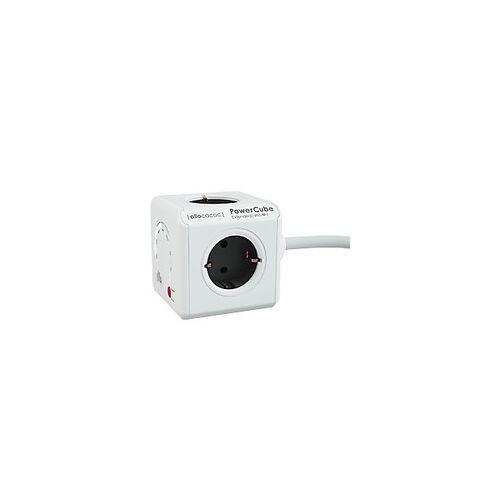 Allocacoc 9710 / DEEXWF PowerCube Steckdosenwürfel mit WLAN-Repeater 4 Steckdosen Typ 1,5m Weiß, Rot