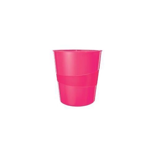 Leitz WOW Papierkorb 15 Liter Pink 29 x 29 x 32,4 cm