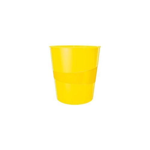 Leitz WOW Papierkorb 15 Liter Gelb 29 x 29 x 32,4 cm
