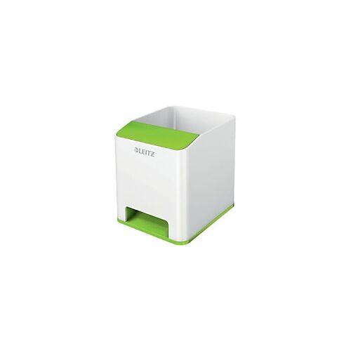 Leitz WOW Sound Stiftehalter Duo Colour Weiß, Grün 9 x 10 x 10,1 cm