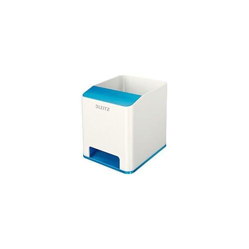 Leitz WOW Sound Stiftehalter Duo Colour Weiß, Blau 9 x 10 x 10,1 cm