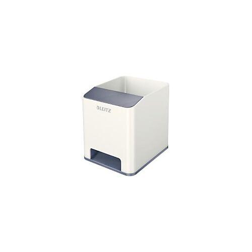 Leitz WOW Sound Stiftehalter Duo Colour Weiß, Grau 9 x 10 x 10,1 cm