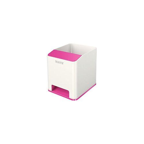 Leitz WOW Sound Stiftehalter Duo Colour Weiß, Pink 9 x 10 x 10,1 cm