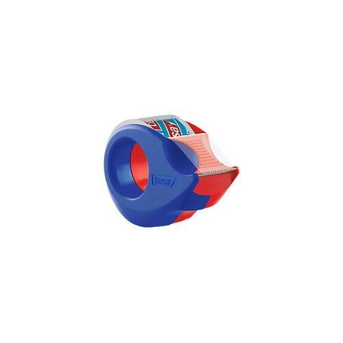 tesafilm Handabroller Mini Rot, Blau 1,9 cm mit Klebefilm Kristall- Klar