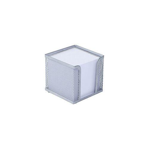 Wedo Zettelbox Mesh/65754, silber, Zettelbox inkl. Papier, 100 x 100 x 100 mm
