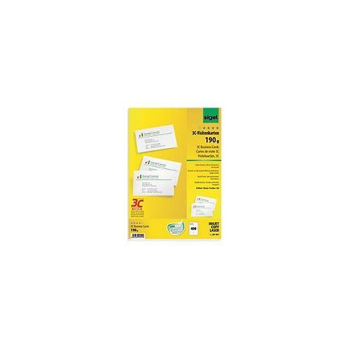 Sigel LP791 Visitenkarten 85 x 55 mm 190 g/m2 Weiß 400 Stück