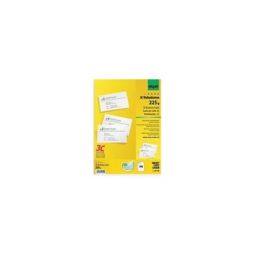 Sigel PC-Visitenkarten 3C DIN C5/6 225 g/m² Weiß 10 Blatt à 10 Stück