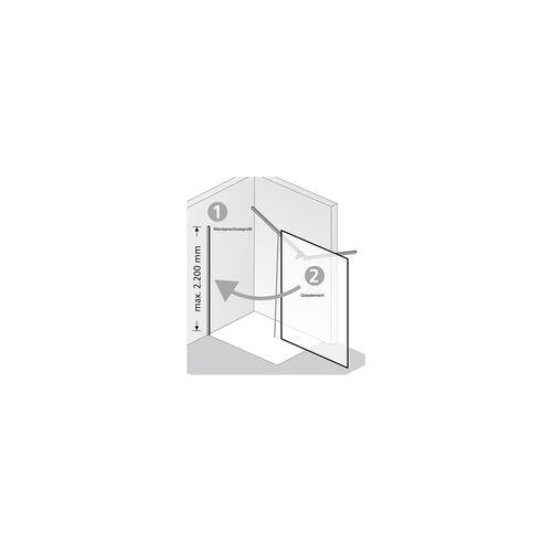 HSK Einputzschiene für Auf- oder Unterputzmontage der Walk In Pro und Walk In Pro Concept - Serien