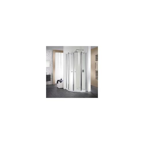 HSK Exklusiv Runddusche 2 Drehtüren und 2 Festteile inkl. Edelglasbeschichtung alu silber matt 90 x 90 x 200 cm
