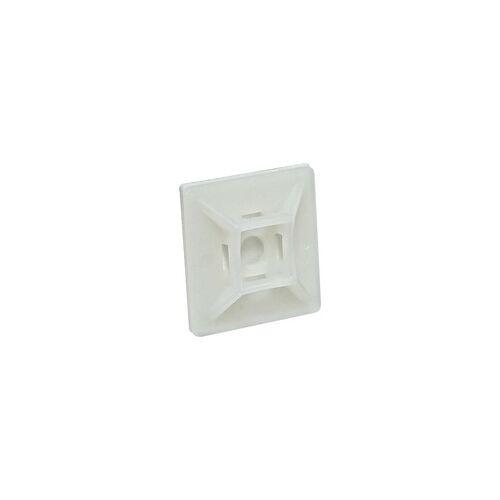 heima-press Klebesockel 28 x 28 mm für Kabelbinder bis 4,8 mm - Farbe natur - Beutel 100 Stück