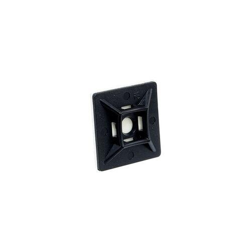 heima-press Klebesockel 28 x 28 mm für Kabelbinder bis 4,8 mm - Farbe schwarz - Beutel 100 Stück