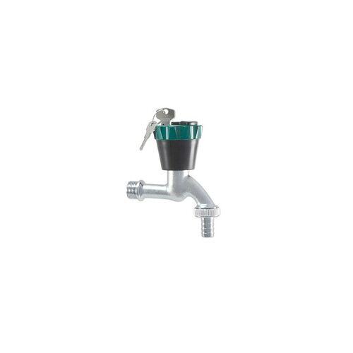 SCHLÖSSER ''Wasser-Safe®'' Auslaufventil (Wasserhahn) 1/2'' - matt verchromt - abschließbar, mit 2 Schlüssel - 1930