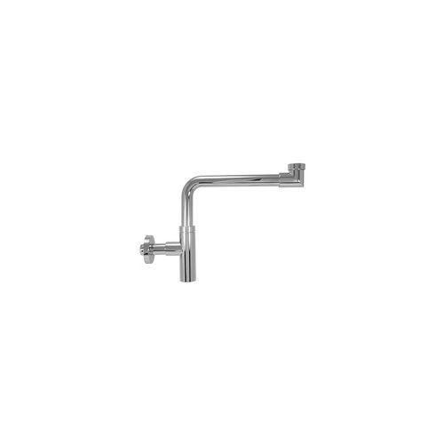 heima-press Design-Raumsparsifon DN 32 (1 1/4'') x Ø 32 mm - Messing verchromt - mit Rosette - Gewicht 1.120 g