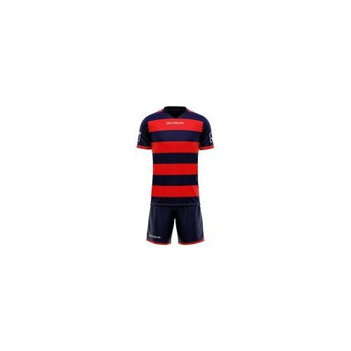 Givova Rugby Set Trikot mit Short Kit navy/rot - XL