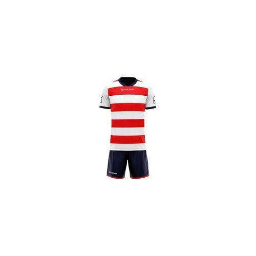 Givova Rugby Set Trikot mit Short Kit weiß/rot - XL