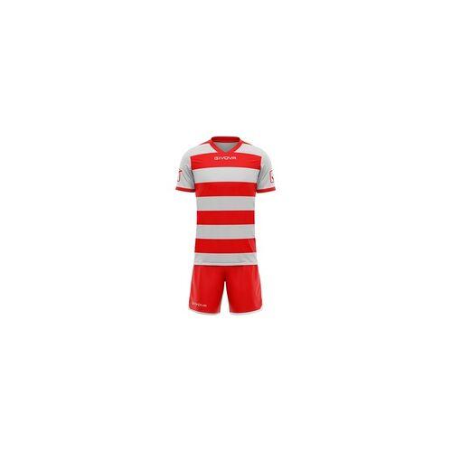 Givova Rugby Set Trikot mit Short Kit grau/rot - L
