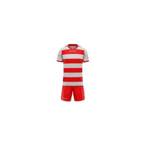 Givova Rugby Set Trikot mit Short Kit grau/rot - XL