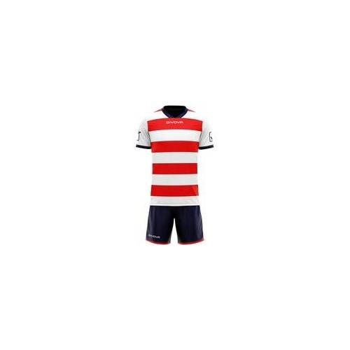 Givova Rugby Set Trikot mit Short Kit weiß/rot - M