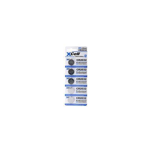 XCell 5er-Sparset CR2032 Lithium Batterie 3V, CR2032 Batterien im praktischen 5er Set