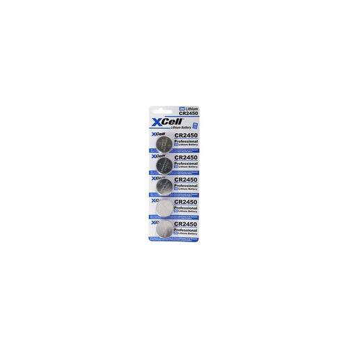 XCell 5er-Sparset CR2450 Lithium Batterie 3V, CR2450 Batterien im praktischen 5er Set