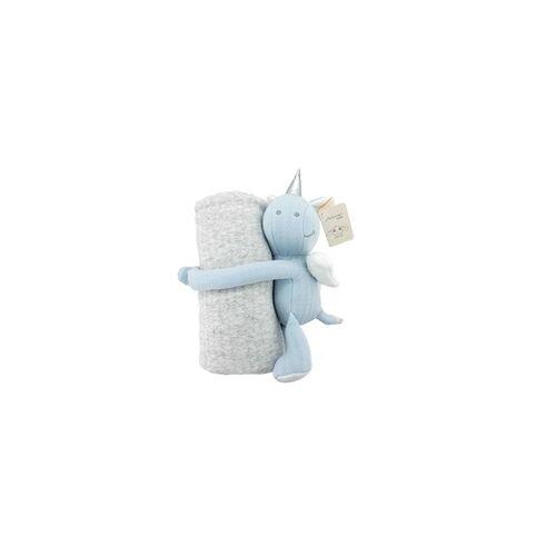 Antonio Baby-Kuscheldecke Einhorn blau