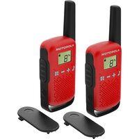 Motorola Talkabout T42 Funkgeräte 4km Reichweite Gruppenruf-Funktion (Schwarz, Rot)
