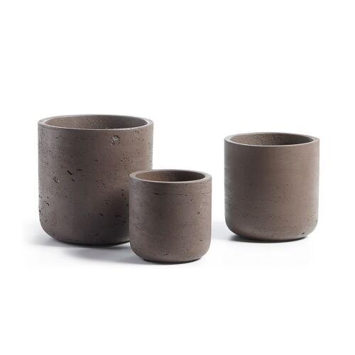 Kave Home - Low Töpfe, 3er-Set, braun